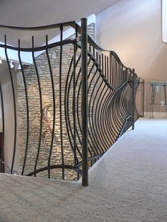 Contemporary Stair With Hand Railing: Unique Contemporary Metal Stair Railing Porch Railing Plans, Porch Railing Designs, Metal Stair Railing, Front Porch Railings, Wrought Iron Stairs, Hand Railing, Banisters, Interior Railings, Door Gate Design
