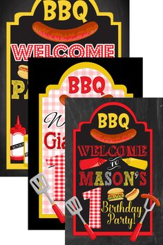 BBQ birthday welcome sign backyard bbq party by CustomPrintablesNY
