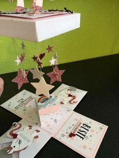 Explosion box with unicorn for the birthday - DIY and crafts - Diy Birthday Box, Birthday Card Pop Up, 40th Birthday, Diy Gift Box, Diy Gifts, Birthday Explosion Box, Exploding Gift Box, Scrapbook Box, Pop Up Box Cards