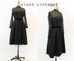 50s Lace Dress Small / 1950s Vintage Little Black by CrushVintage