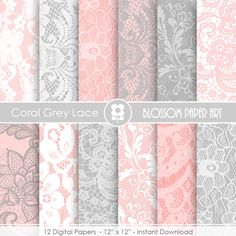 Lace Digital Paper Coral Grey Lace Digital Paper Pack Scrapbooking Damask Papers Textures  - INSTANT DOWNLOAD  - 1919 #Pink #Wedding #PinkWedding #Paper