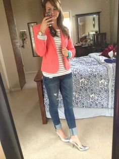 Loving this outfit from @Katie Whalen Krysh. I MUST get myself a coral blazer. So cute!