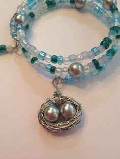 Bird's Nest Memory Wire Bracelet | LoopsandBeadsCreations - Jewelry on ArtFire
