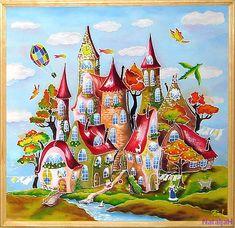Картины в технике Батик пряничные домики 50х55 (2500)