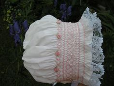 Smocked baby bonnet...Heirloom...Newborn...Reborn ..Christening..Baptism..Wedding...Vintage.....Easter....Summer..Photo Prop
