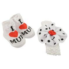 I Heart Mum! Baby girl's sock and headband gift set White/Red (0-12 Months) £1.99