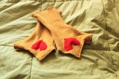Mustard Yellow Sweater Heart Fingerless Hand Warmer Gloves - pinned by pin4etsy.com