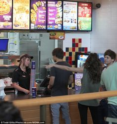 Fast food fix: The couple also stopped by a local branch of Taco Bell for a fast food fix