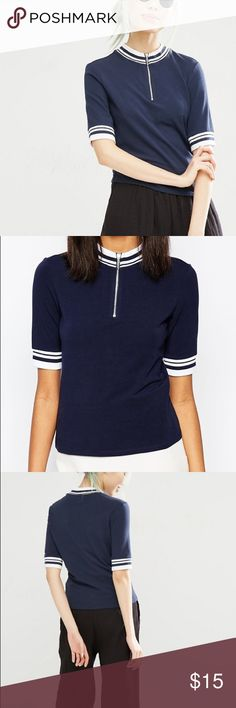 Monki High Neck Zip Front Contrast Tee Purchased from ASOS. Worn once. 🚭smoke free home Asos Tops Blouses