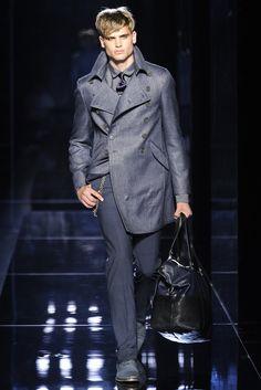 John Varvatos Men's RTW Spring 2014 coat with bag