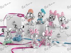 Personaggi Disney in resina argentata e smaltata