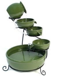 Green Solar Ceramic Water Feature with Battery Buackup & LEDs by Solaray Bird Bath Fountain, Cascade Water, Garden Fountains, Water Fountains, Backyard Water Feature, Water Features In The Garden, Terracota, Led Licht, Dream Decor