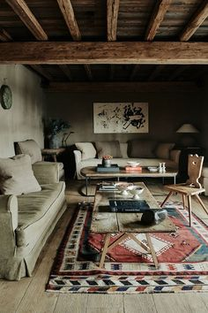 Chalet Sitting Area - Simplicity and sophistication in this Belgian country house and rustic Alps chalet - real homes on HOUSE by House & Garden