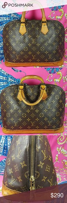 """Authentic Louis Vuitton Monogram Alma Bag The outer leather is in good uaed condition. The leather trims and dual handles  (drop about 3.5"""") showed wearing with scratches, stains, darkened, scuffing & crack (8th photo). Inside is nice and clean. Date code SD0925. It made in France. Dimensions:(about) 9.25, 16, & 6.5. No trade and reasonable offer please. Louis Vuitton Bags Satchels"""