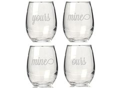 4 pcs Yours Mine Mine Ours  Engraved 21 oz. by giftspersonalizedco