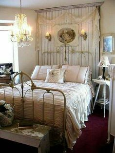 Shabby chic is a soft, feminine and romantic way of decoration style that looks comfortable and inviting. Are you passionate about the shabby chic interior design and decoration? Check out these awesome shabby chic decor diy ideas & projects. Shabby Bedroom, Bedroom Vintage, Cozy Bedroom, White Bedroom, Bedroom Rustic, Farmhouse Bedrooms, Country Chic Bedrooms, Burlap Bedroom Decor, Farmhouse Headboards