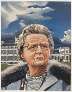 """Portret van koningin Juliana (Portrait of Queen Juliana)"", 1976 / Carel Willink / Private Collection Juliana Louise, Royal Dutch, Statues, Hyper Realistic Paintings, Magic Realism, Portrait Art, Portraits, Z Arts, Dutch Painters"