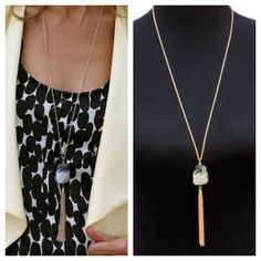 Check out our beautiful grey and black stone necklace with gold chain fringe that was featured on my blog story this week, only $34.00 free US shipping get yours at http://www.jacketsociety.com/product/long-gold-tone-chain-necklace-with-grey-black-stone-and-fringe/