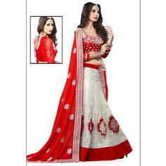 Pretty a Line Off White and Red Lehenga  With Lace Work Dupatta ($179) ❤ liked on Polyvore featuring tops, elbow sleeve tops, a line tops, elbow length sleeve tops, lace top and fitted lace top