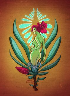 paulinaganucheau:  Seventh day of the 30 day monster girl challenge! Plant girl! The flower on her head is based on a trumpet flower. Also, I love glowy bits on characters. Also. Back dimples.