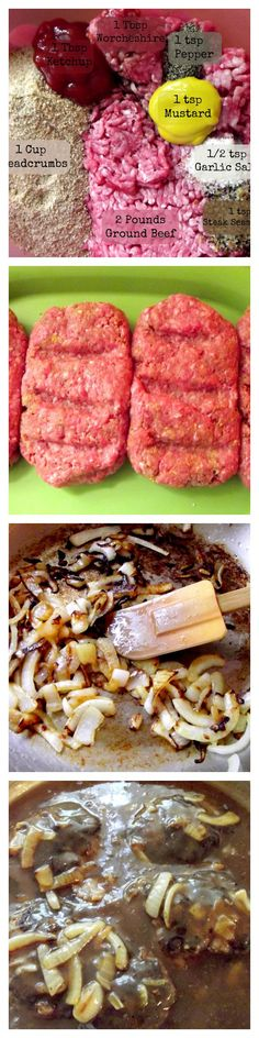 Beste Rezepte Hamburger Pastetchen Salisbury Steak Ideen - Raise your glass! I Love Food, Good Food, Yummy Food, Tasty, Beef Dishes, Food Dishes, Main Dishes, Meat Recipes, Cooking Recipes