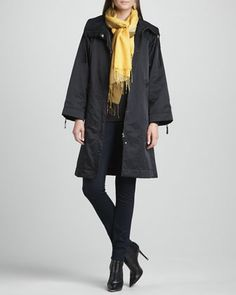 High-Collar Zip-Front Coat, Slim Jersey Top, Stretchy Jean Leggings & Ombre Silk-Blend Scarf  by Eileen Fisher at Neiman Marcus.
