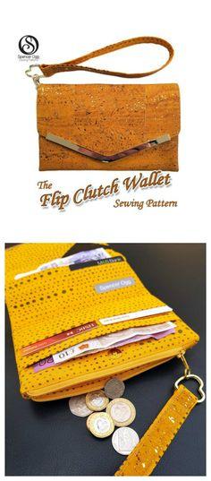 The Flip Clutch Wallet sewing pattern - Sew Modern Bags Handbag Patterns, Bag Patterns To Sew, Sewing Patterns, Sewing Ideas, Sewing Projects, Clutch Bag Pattern, Wallet Sewing Pattern, Sew Wallet, Clutch Wallet