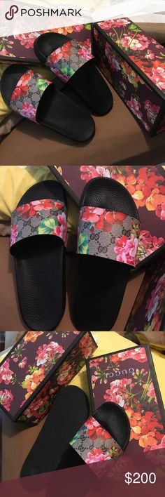 Gucci women floral slides Women authentic Gucci comes with box n Gucci shopping bag nwot.... Gucci Shoes Sandals