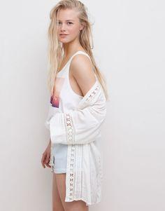 Pull&Bear - woman - jackets - lace kimono - ice - 05715329-V2015