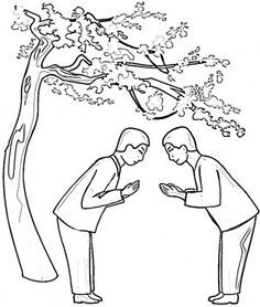 Saying Hello In Japan  coloring pages #Japanese culture for #kids