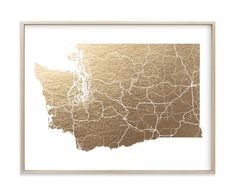 """Washington Map- Filled"" - Foil-pressed Art Print by GeekInk Design in beautiful frame options and a variety of sizes."