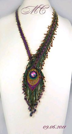 Inspiration - Beautiful Beaded Necklace Creations by Marina Somova featured in B. Bead Jewellery, Beaded Jewelry, Handmade Jewelry, Jewlery, Bead Embroidery Jewelry, Beaded Embroidery, Jewelry Patterns, Beading Patterns, Beaded Necklace Patterns