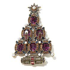 "Heidi Daus ""Deco the Halls"" Crystal Christmas Tree Pin"