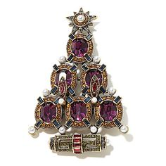 "Heidi Daus ""Deco the Halls"" Crystal Christmas Tree Pin"