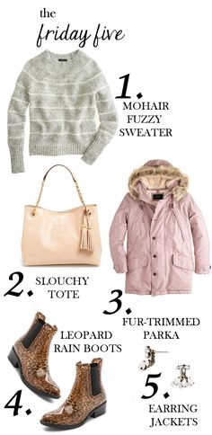 the friday five with mohair sweater, fur-trimmed parka, tory burch tote, ear jackets and leopard rain boots M Loves M @marmar