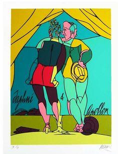 Handgesigneerd en genummerd 73/150. Ingelijst acher museumglas! Afmetingen: 70 x 86 cm Valerio Adami (1935) Valerio Adami is een Italiaans narratief-figuratief kunstschilder.Hij is een wereldberoemd pop-artkunstenaar.#kunst #art #zeefdruk #popart Zijn meest karakteristieke werk is in de stijl van stripverhalen, met duidelijke omlijning en kleurvlakken. Hij plaatst figuren uit werken van Ovidius en andere fictieve ...