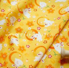 Rabbit printed Japanese Cotton Fabric. Yukata Fabric by JPfabric