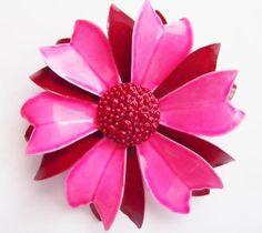 Vintage 60's Pink Burgundy Enamel Flower Pin Brooch