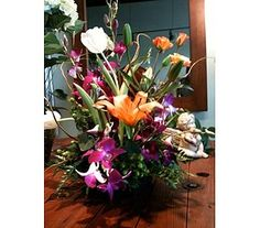 Tropical Arrangement in Naples FL, Posies, great mix of tropical flowers in a more modern style