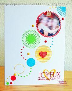 """Carte """"Joyeux Anniversaire"""" répondant au challenge couleurs #2 sur les couleurs primaires Copyright Pauline h. Créations"""