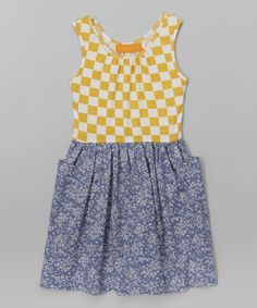 Look at this Best Frendz Blue & Yellow Checkerboard Denim Dress - Toddler & Girls on #zulily today!