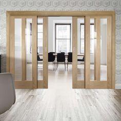 Thruslide Novara Oak - 4 Sliding Doors and Frame Kit - Clear Glass - Lifestyle Image. Door Dividers, Room Divider Doors, Room Doors, Glass Barn Doors, Glass Panel Door, Glass Panels, Double Doors Interior, Interior Barn Doors, Sliding Door Design
