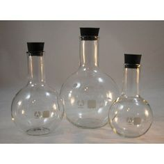 3 Glass Boiling Flasks w Stoppers Flat Bottom 250-500- 1000mL - Glassware - Lab Supplies & Equipment