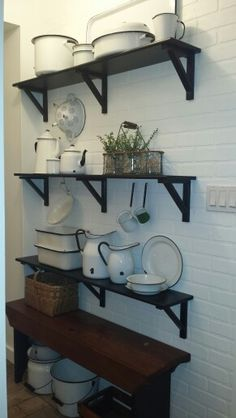 My white enamel collection of over 20 years finally has a home together. Farmhouse Chic, White Enamel, Cozy House, Country Kitchen, 20 Years, Vignettes, Basin, Red And White, Cottage