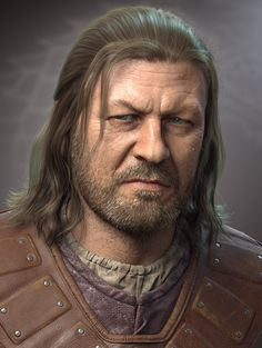 Study based on Ned Stark (Sean Bean) from Game of Thrones. Sculpted in Zbrush, rendered with Vray HairFarm. Zbrush Character, 3d Character, Character Design, Character Sheet, Character Reference, Eddard Stark, Ned Stark, Real Madrid, 3d Portrait