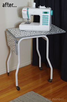Turn a small table into a sewing station. Love!