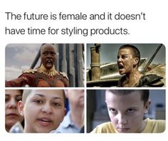 Danai Gurira as Okoye from 'Black Panther' (2018), Charlize Theron as Furiosa from 'Mad Max: Fury Road' (2015), Marjory Stoneman Douglas High School student Emma Gonzalez (2018), and Millie Bobby Brown as Eleven from 'Stranger Things' (2016)