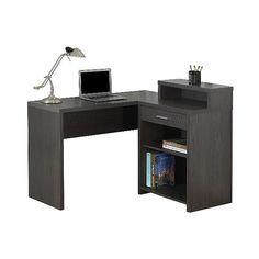 Computer Desk with Corner Storage ($380) ❤ liked on Polyvore featuring home, furniture, desks, grey, shelf desk, storage shelf, storage shelves, corner computer desk and computer desk