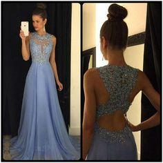 Blue Prom Dress,Prom Dress Long,Encaje Prom Dress,Blue Formal Dress,Long Evening Dress,MA086