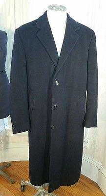 Men's Brooks Brothers 346 Lambswool and Cashmere Top Coat Overcoat Navy Blue L